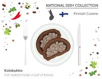 Finnish Cuisine. European national dish collection. Fish baked i. Nside a loaf of bread isolated on white, infographic. Vector illustration royalty free illustration