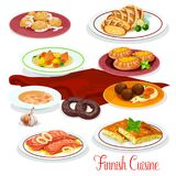 Finnish cuisine fish, vegetable dish cartoon icons. Finnish cuisine dinner of national dishes. Fish cream soup with vegetable, meatball with mashed potato Stock Photos
