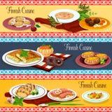 Finnish cuisine restaurant menu banner set design. Finnish cuisine restaurant menu banner set. Scandinavian fish vegetable soup, potato dumplings, salmon steak Stock Image
