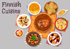 Finnish cuisine traditional dishes icon design Royalty Free Stock Photos