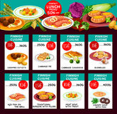 Finnish cuisine vector menu price cards template. Finnish cuisine restaurant menu template. Vector lunch offer of chopped cutlet, cabbage pie and casserole Stock Photos