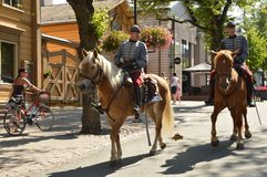 Finnish dragoons. In the streets of Lappeenranta stock photography