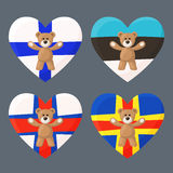Finnish, Estonian, Faroese and Aland Teddy Bears. Teddy Bears with heart with flag of Finland, Estonia, Faroe Islands and Aland Islands. Illustration of travel Royalty Free Stock Photos