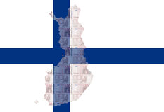 Finnish euros. Map of Finland with  10 euro and Finnish flag illustration Royalty Free Stock Photo