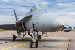 Finnish F/A-18 Hornet parked. Finnish Air Force F/A-18 Hornet fighter aircraft parked at Malmen air base, Linkoping, Sweden Stock Photography