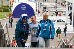 Finnish Fans in Front of Minsk Arena Royalty Free Stock Image