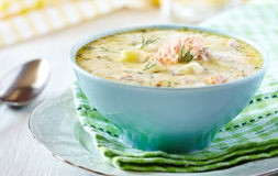 Finnish Fish Soup. Kalakeitto - Finnish Fish Soup with Salmon, Cream and Potatoes Stock Image