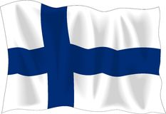 Finnish flag. Waving flag of Finland isolated on white Royalty Free Stock Photography