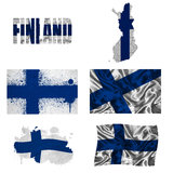 Finnish flag collage. Finland flag and map in different styles in different textures Stock Photo