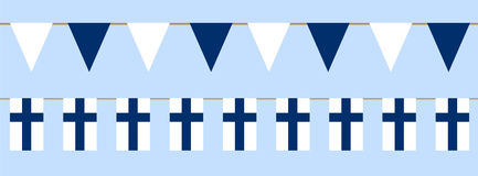 Finnish flag day. Buntings with finnish flag. Web banner for Flag Day in Finland Stock Photography