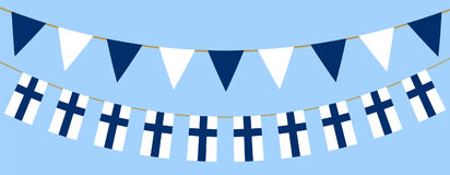 Finnish flag day. Buntings with finnish flag. Web banner for Flag Day in Finland Royalty Free Stock Image