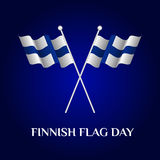 Finnish Flag Day. Greeting card of Finnish Flag Day. Template for your design with two waving flag of Finland. Vector illustration Stock Photos
