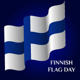 Finnish Flag Day. Greeting card of Finnish Flag Day. Template for your design with waving flag of Finland. Vector illustration Stock Images