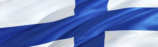 Finnish flag. Flag of Finland. 3D Waving flag design,3D rendering. The national symbol of Finland background wallpaper. 3D ribbon. Wallpaper, pattern royalty free stock photos