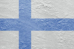Finnish flag on the ice Stock Photography