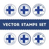 Finnish flag rubber stamps set. National flags grunge stamps. Country round badges collection Stock Photo