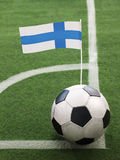 Finnish Flag on Top of Soccer Ball Stock Image