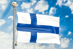 Finnish flag waving in blue cloudy sky, 3D rendering. Finnish flag waving in blue cloudy sky, 3D Stock Photos