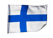 Finnish flag in the wind on white background Royalty Free Stock Photos