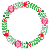 Finnish floral folk art round pattern - Nordic, Scandinavian style. Floral greetings card - Nordic, Scandinavian inspired design Stock Photos