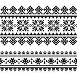 Finnish-folk-art-pattern-3-black Fotografia Stock Libera da Diritti