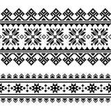 Finnish-folk-art-pattern-3-black. Ethnic seamless background, rustic design inspired by retro patterns from Ukraine Royalty Free Stock Photo