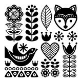 Finnish folk art pattern - Scandinavian, Nordic style, black and white Royalty Free Stock Image