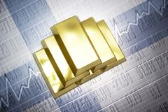 Finnish gold reserves. Shining golden bullions lie on a finnish flag background Stock Image