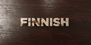 Finnish - grungy wooden headline on Maple  - 3D rendered royalty free stock image Stock Images