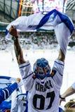 Finnish hockey fan stock image