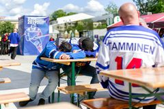 Finnish hockey fans. KOSICE, SLOVAKIA - MAY 11: Finnish hockey fans in centre of city during  2019 IIHF World Championship on May 11, 2019 in kosice royalty free stock photography