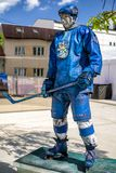 Finnish hockey player in city Kosice during ice hockey championship 2019. KOSICE, SLOVAKIA - MAY 11: Finnish hockey player in fanzone during  2019 IIHF World stock photos