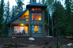 Finnish house. Finnish comfortable house in a green forest, happy comfort Stock Image