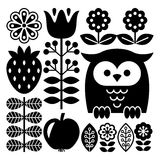 Finnish inspired folk art pattern in black - Scandinavian, Nordic style Stock Photography