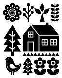 Finnish inspired folk art pattern - Scandinavian, Nordic style in black Royalty Free Stock Photo