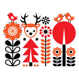 Finnish inspired folk art pattern - Scandinavian, Nordic style with flowers and animals Stock Photography