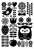 Finnish inspired folk art pattern - Scandinavian, Nordic style - monochrome Stock Photo