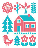 Finnish inspired folk art pattern - Scandinavian, Nordic style in turquoise and raspberry colour Stock Photography