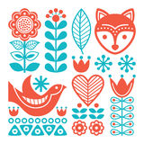 Finnish inspired folk art pattern - Scandinavian, Nordic style. Vector background with flowers and animals animals  on white Stock Image