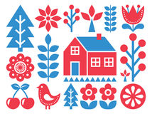 Finnish inspired folk art pattern - Scandinavian, Nordic style. Vector background with flowers, hourse, rural scenery Stock Photos