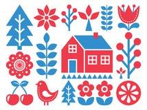 Finnish inspired folk art pattern - Scandinavian, Nordic style Stock Photos