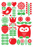 Finnish inspired folk art pattern - Scandinavian, Nordic style. Vector red and green background with flowers, fruit and animals isolated on white Royalty Free Stock Photography