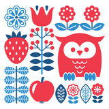 Finnish inspired folk art pattern - Scandinavian, Nordic style. Vector red and green background with flowers, strawberry and owl isolated on white Royalty Free Stock Image