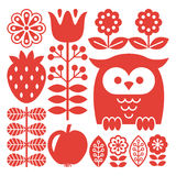 Finnish inspired folk art red pattern - Scandinavian, Nordic style. Vector background with flowers, strawberry and owl isolated on white Royalty Free Stock Photography
