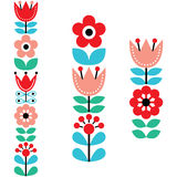 Finnish inspired long folk art pattern - Nordic, Scandinavian style. Floral cute designs - Nordic, Scandinavian flower background Royalty Free Stock Image