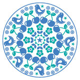 Finnish inspired round folk art pattern - Scandinavian, Nordic style. Vector blue and green floral background in circle isolated on white Stock Photography