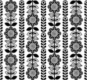 Finnish inspired seamless folk art pattern - black design, Scandinavian, Nordic style Stock Photo