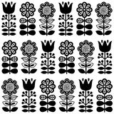 Finnish inspired seamless folk art pattern in black - Scandinavian, Nordic style Stock Photography