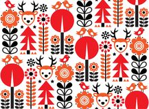 Finnish inspired seamless  folk art pattern - Scandinavian, Nordic style with flowers and animals. Repetitive floral wallpaper with birds, and reindeer, nature Royalty Free Stock Image