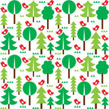 Finnish inspired seamless folk art pattern - Scandinavian, Nordic style. Vector background with trees and birds on white background Royalty Free Stock Images